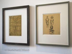 """PabloPicasso """"Étude de nu au visage hiératique les bras croisés au dessus de la tête avec annotations manuscrites de proportion"""" (l.), Alberto Giacometti """"Copie d'après trois sculptures océaniennes"""" (r.)"""