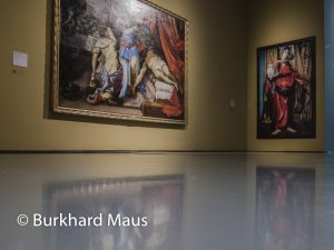 "Hinter dem Vorhang, Museum Kunstpalast, Cindy Sherman ""Untitled Nr. 228"" (r.), Jacopo Tintoretto ""Werkstatt"" (l.)"