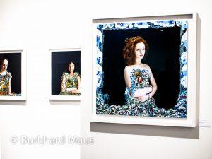 """Elene Usdin, """"Pauline d'après Bosch"""" (détail), """"Eva d'après Ucello"""", """"Charlotte d'après Goya"""" (v.l.n.r.), Galerie Esther Woerdehoff, Paris Photo 2016, Grand Palais"""