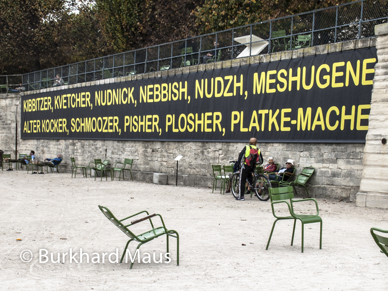 "Mel Bochner, ""The Joys of Yiddish"", Foire Internationale d'Art Contemporain (FIAC) 2017: Hors les murs – Jardin des Tuileries, Paris"