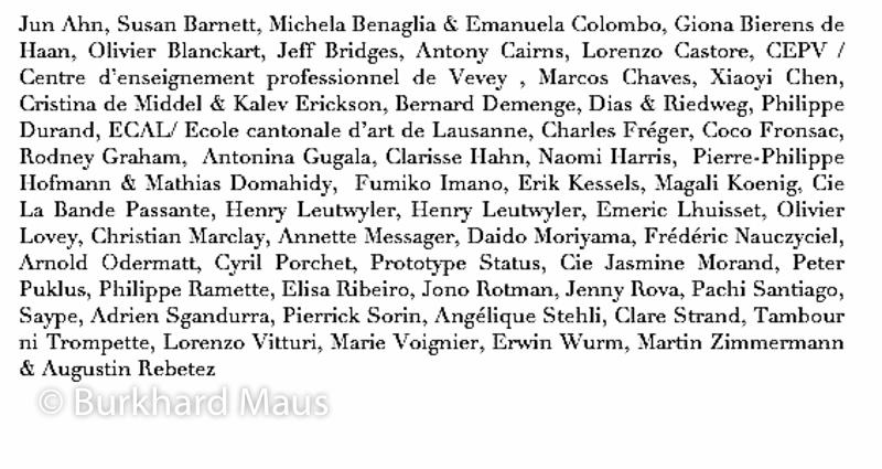 Les Artistes du Festival Images Vevey, (Liste)