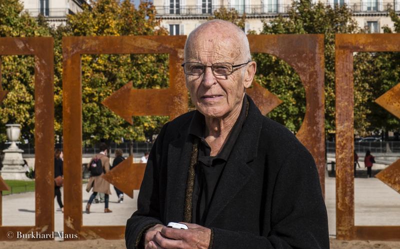 """Jean Dupuy, """"Here"""" , Foire International d'Art Contemporain (Hors les Murs) (FIAC). Jardin des Tuileries, Paris"""